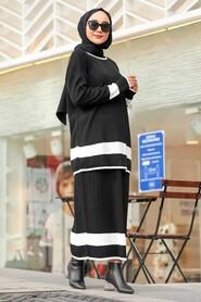 Black Hijab Dual Suit Dress 9681S - Thumbnail