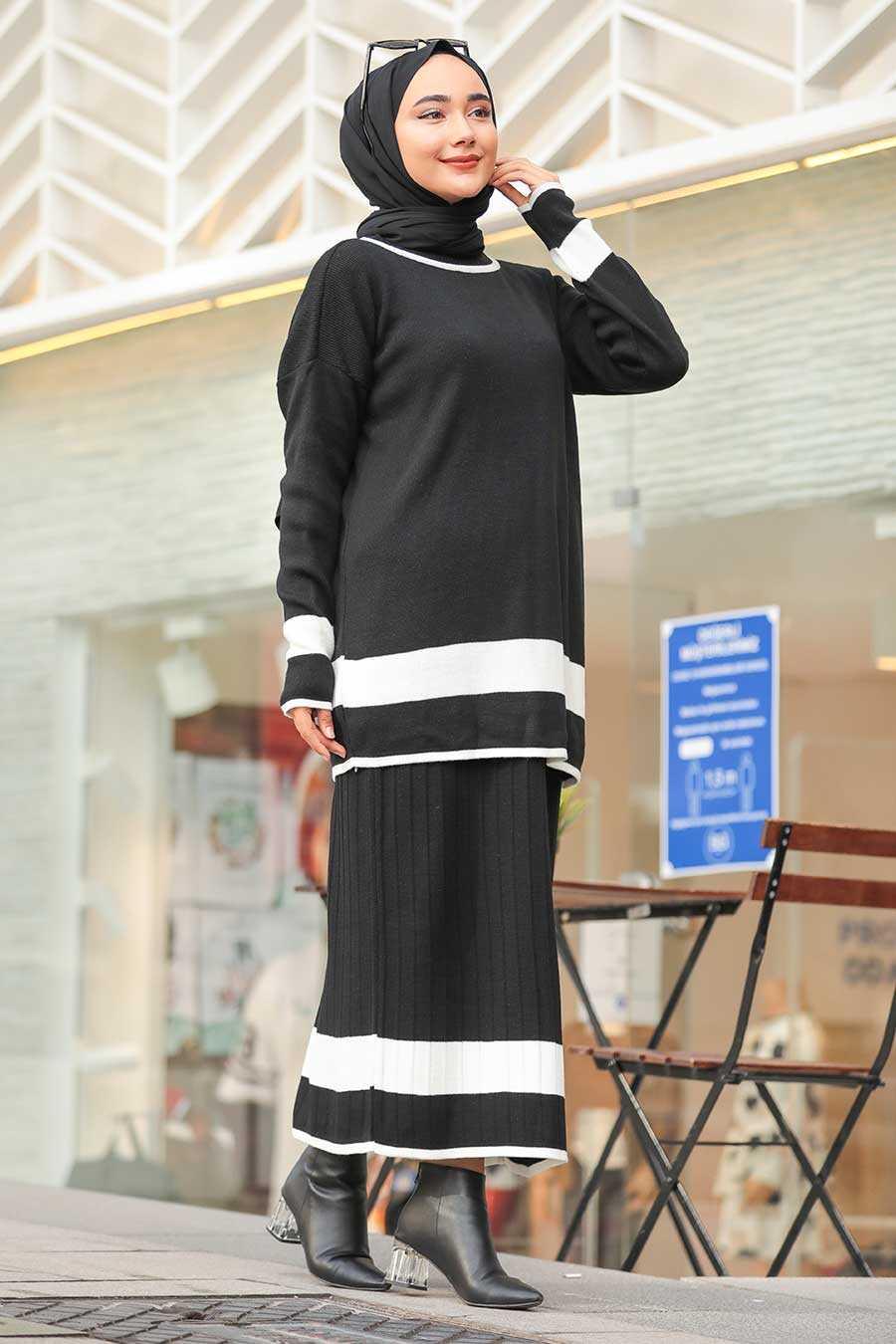 Black Hijab Dual Suit Dress 9681S