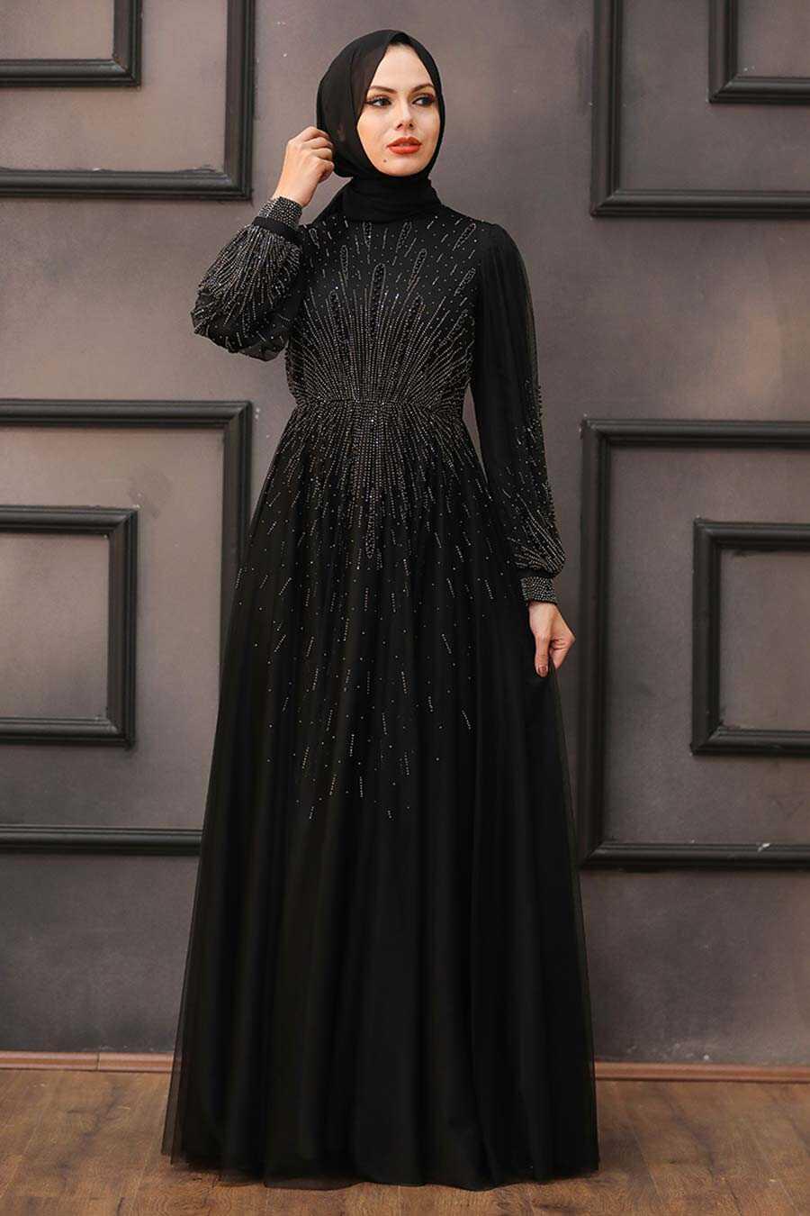 Black Hijab Evening Dress 22021S