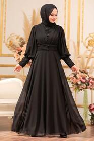 Black Hijab Evening Dress 25810S - Thumbnail