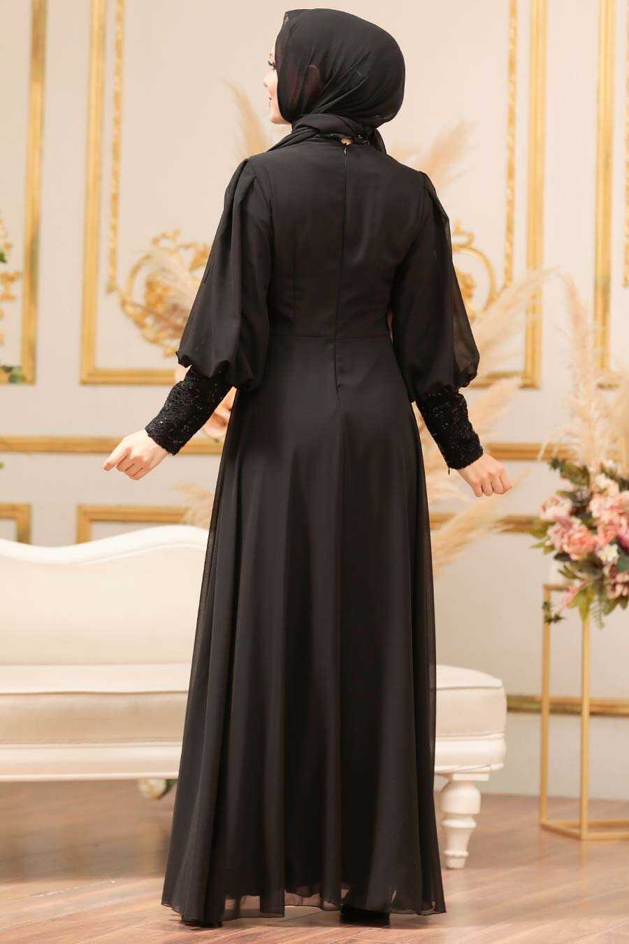 Black Hijab Evening Dress 25810S