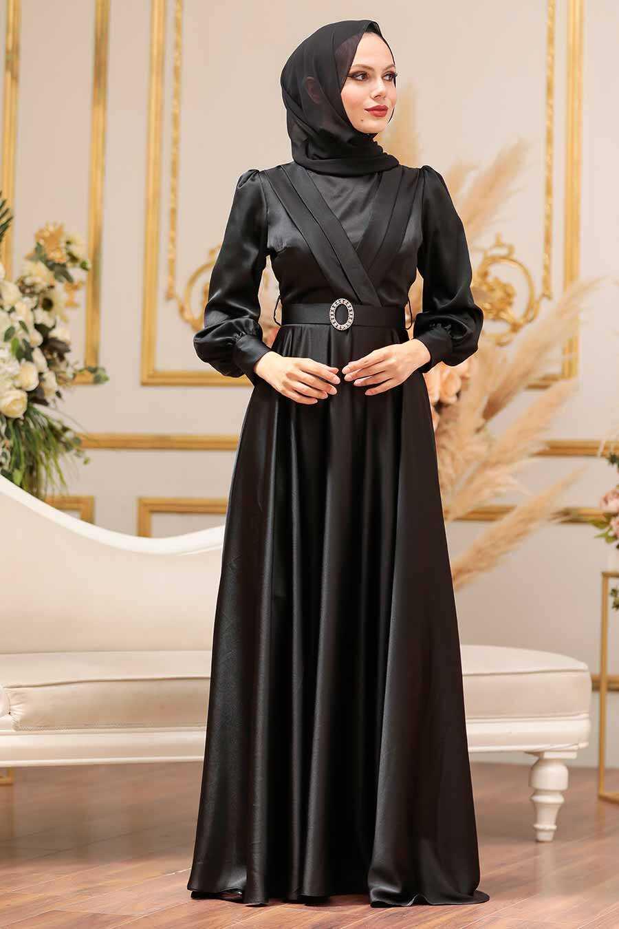 Black Hijab Evening Dress 31290S