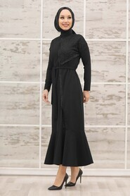 Black Hijab Evening Dress 40530S - Thumbnail