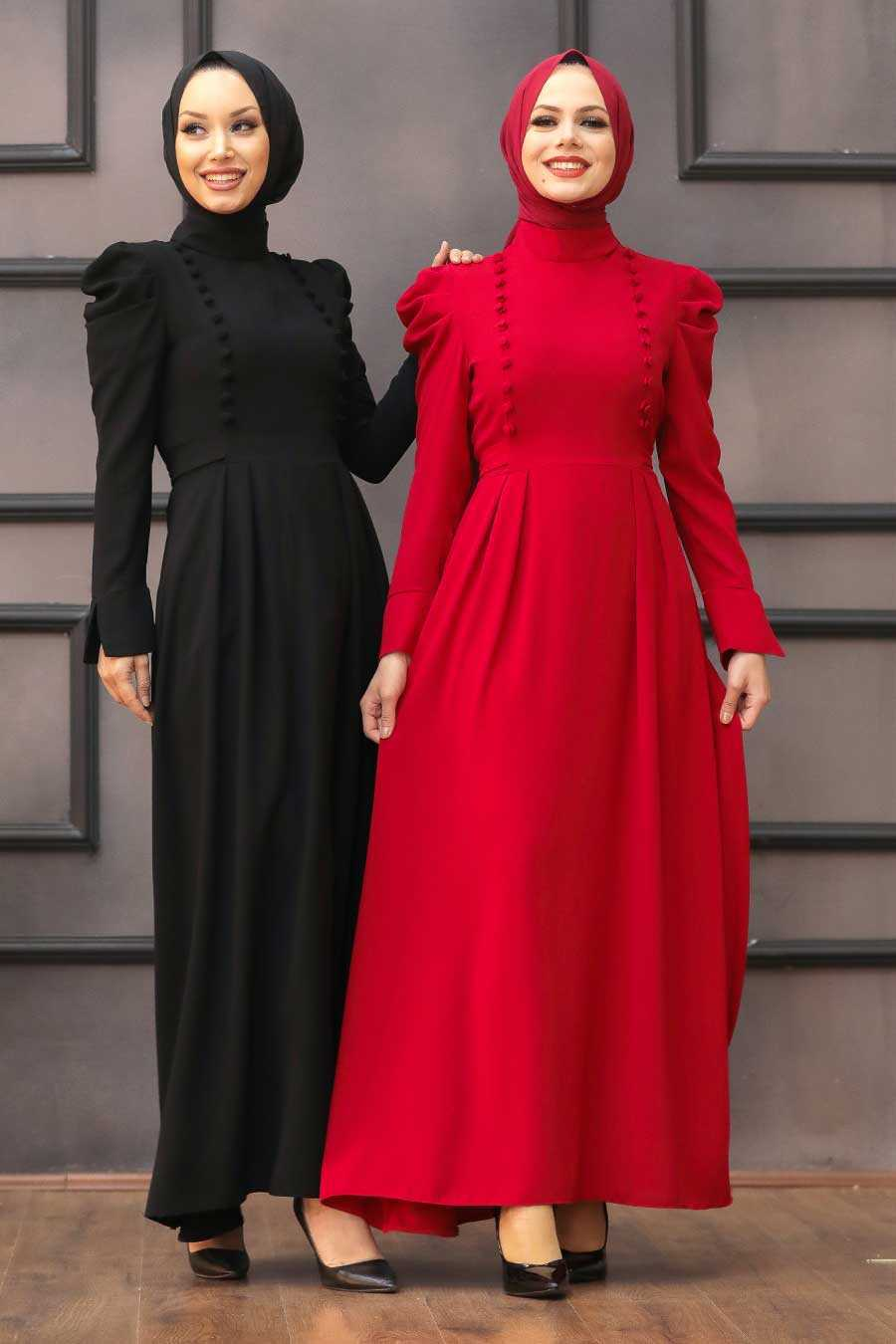 Black Hijab Evening Dress 40710S