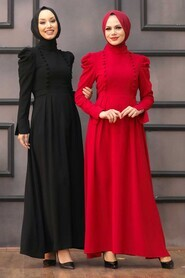 Black Hijab Evening Dress 40710S - Thumbnail
