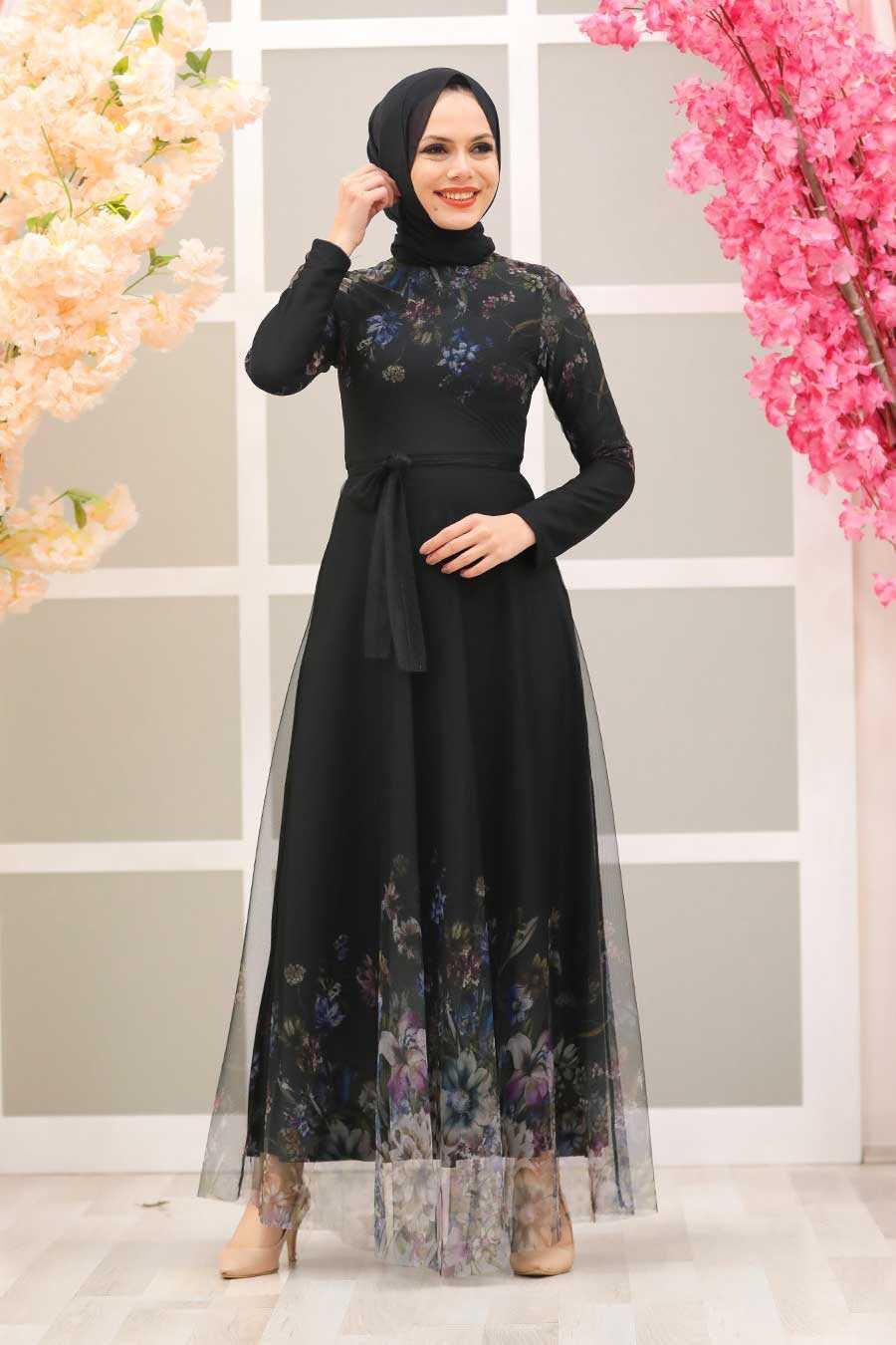 Black Hijab Evening Dress 50171S