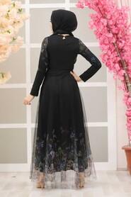 Black Hijab Evening Dress 50171S - Thumbnail