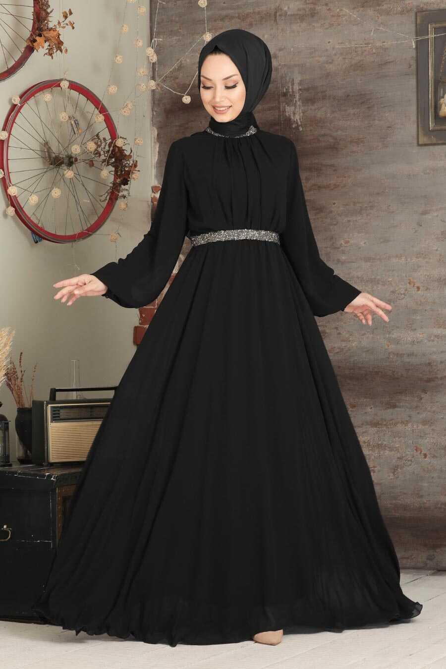 Black Hijab Evening Dress 5339S
