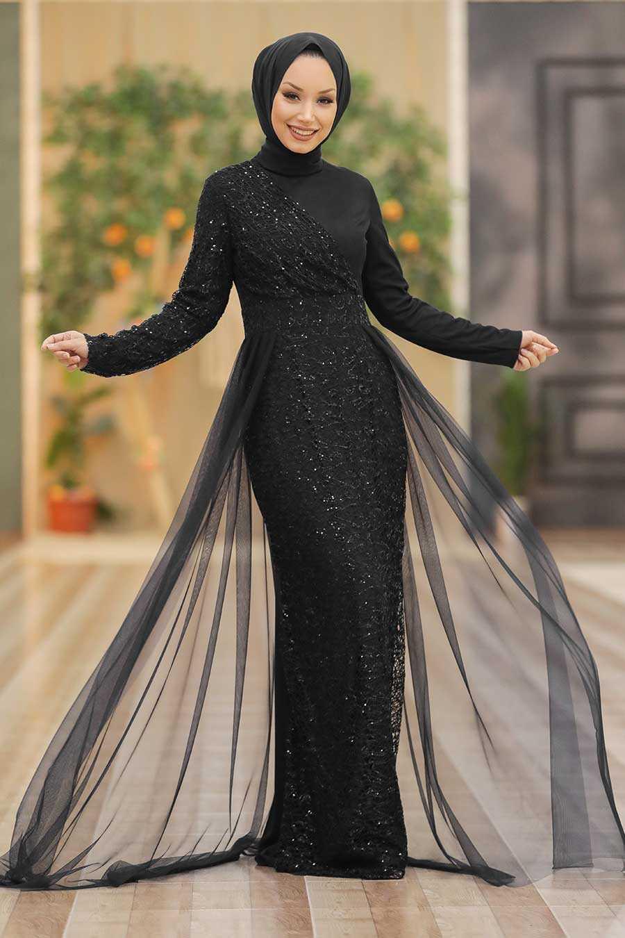 Black Hijab Evening Dress 5345S