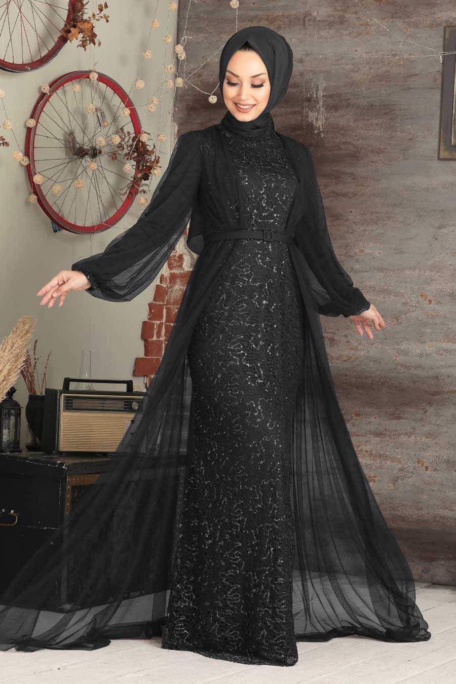 Black Hijab Evening Dress 5383S