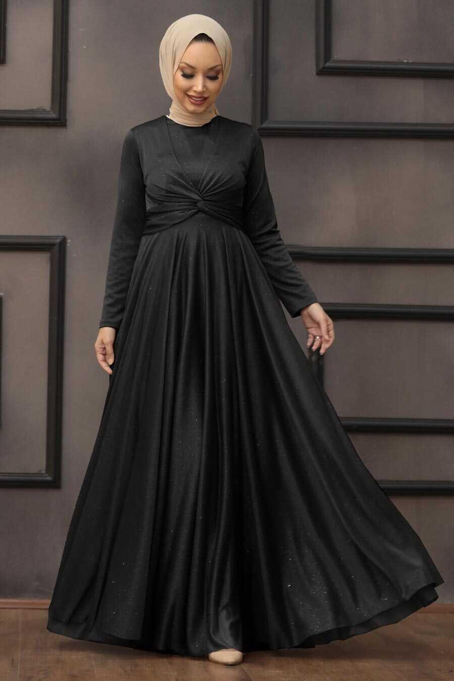 Black Hijab Evening Dress 5397S
