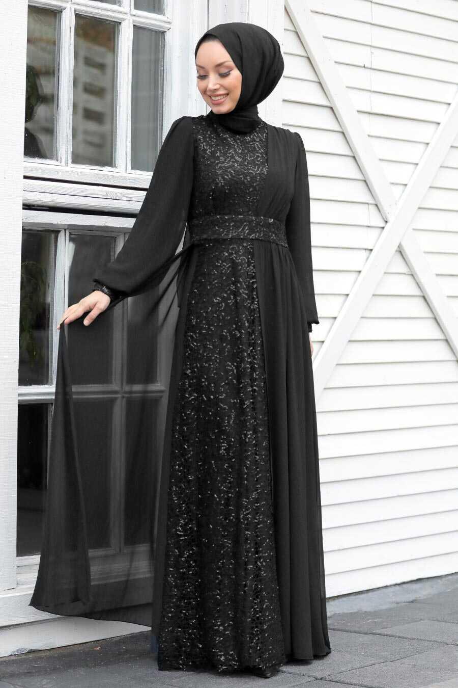 Black Hijab Evening Dress 5408S