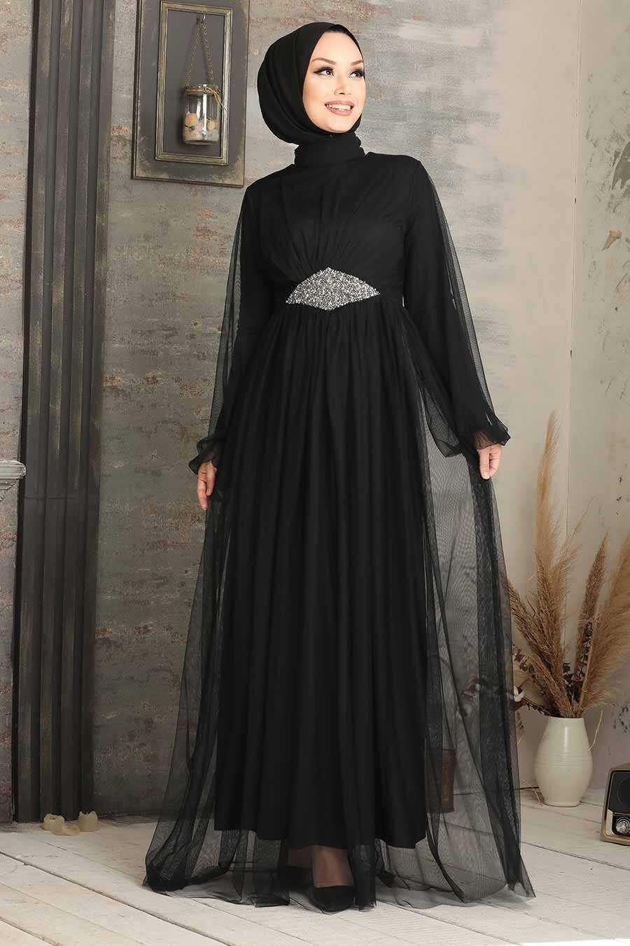 Black Hijab Evening Dress 54230S