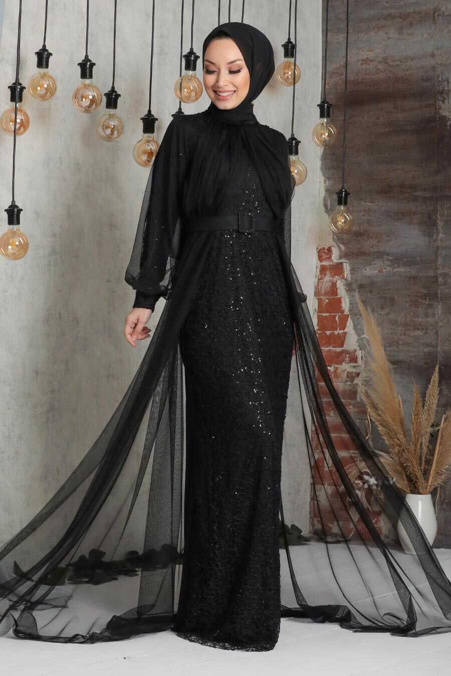 Black Hijab Evening Dress 5441S