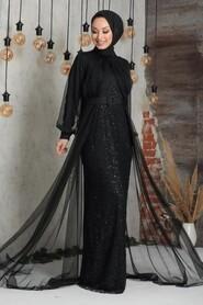 Black Hijab Evening Dress 5441S - Thumbnail