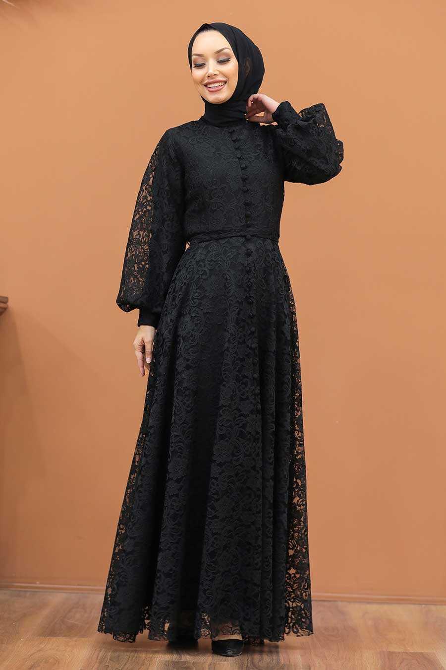 Black Hijab Evening Dress 5477S