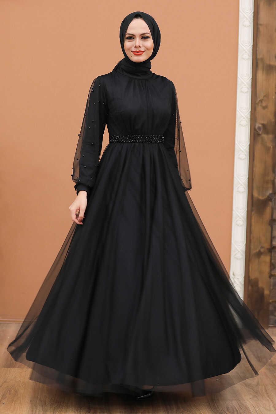 Black Hijab Evening Dress 5514S