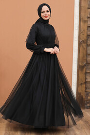 Black Hijab Evening Dress 5514S - Thumbnail