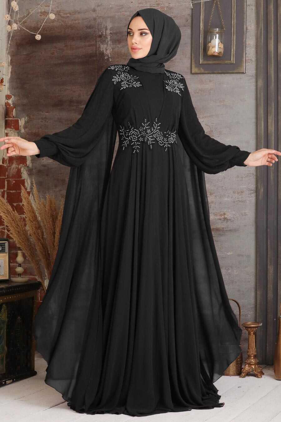 Black Hijab Evening Dress 9130S