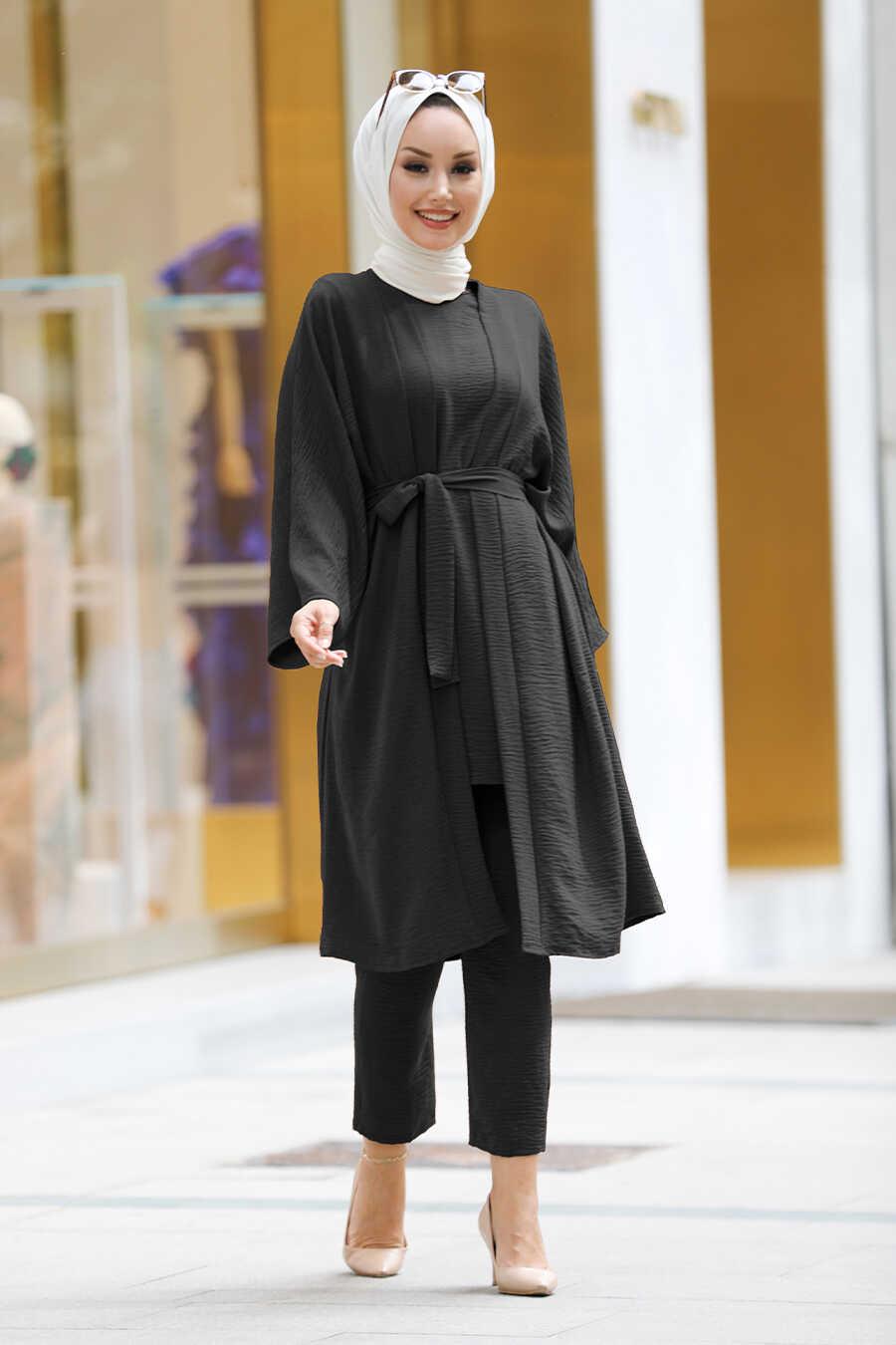 Black Hijab Kimono 40930S