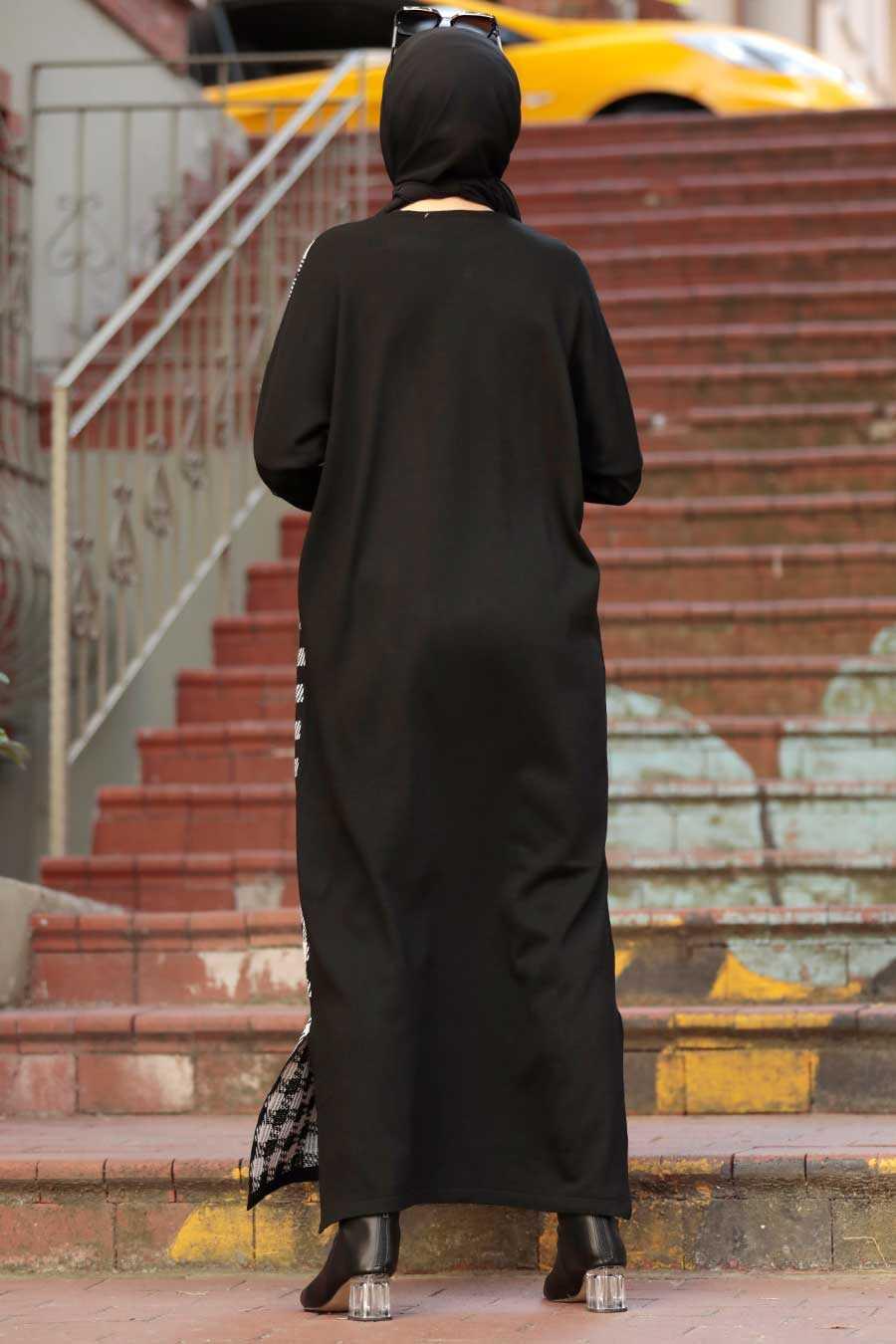 Black Hijab Knitwear Dress 30503S