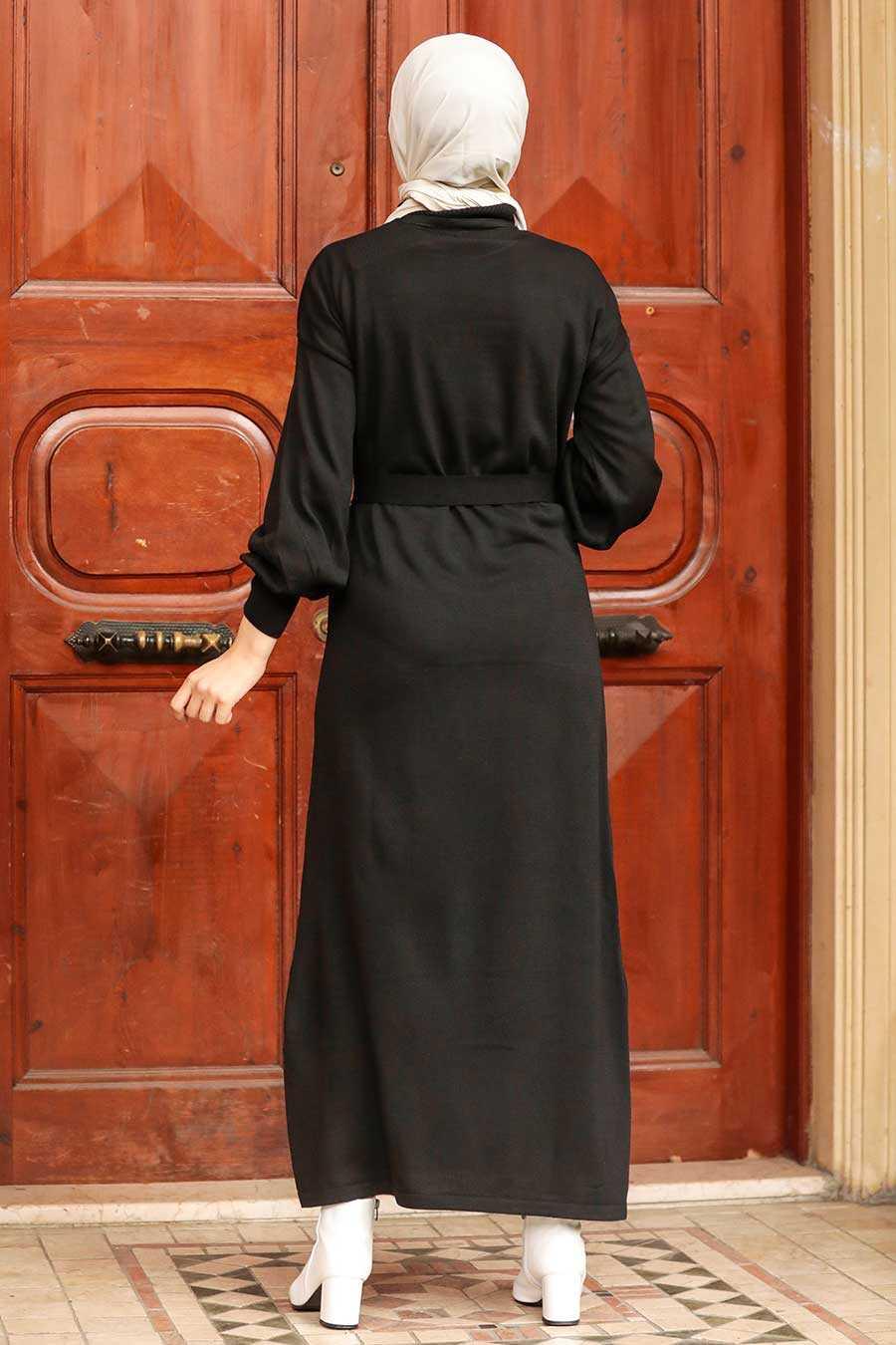 Black Hijab Knitwear Dress 3135S