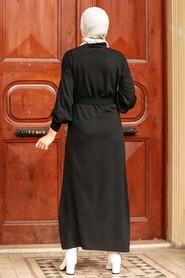 Black Hijab Knitwear Dress 3135S - Thumbnail