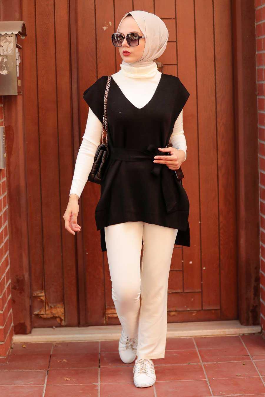 Black Hijab Knitwear Sweater 46500S
