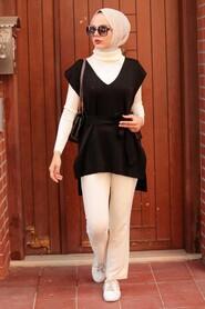 Black Hijab Knitwear Sweater 46500S - Thumbnail