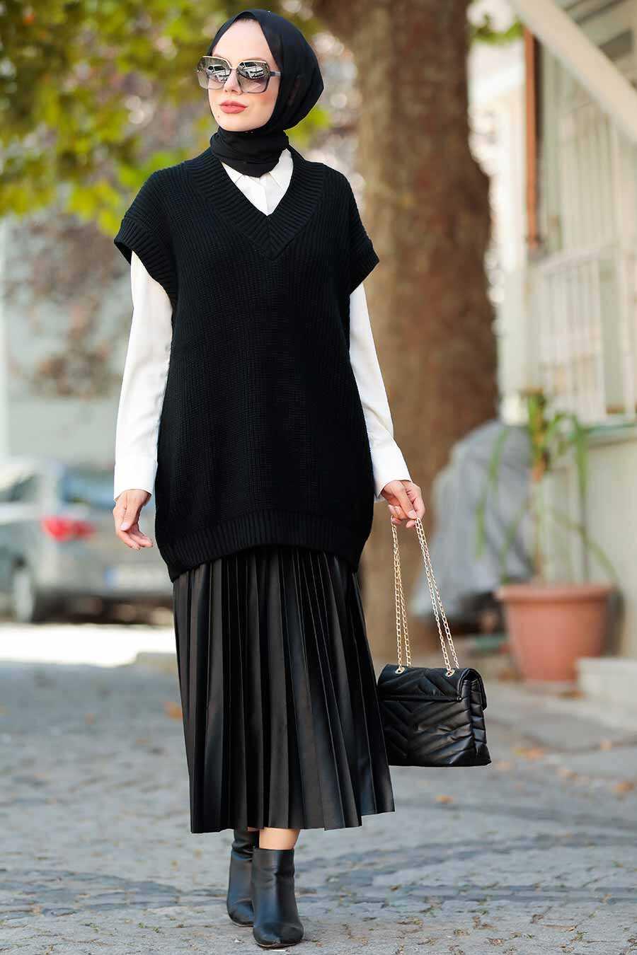 Black Hijab Knitwear Sweater 7836S