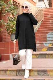 Black Hijab Knitwear Tunic 18441S - Thumbnail