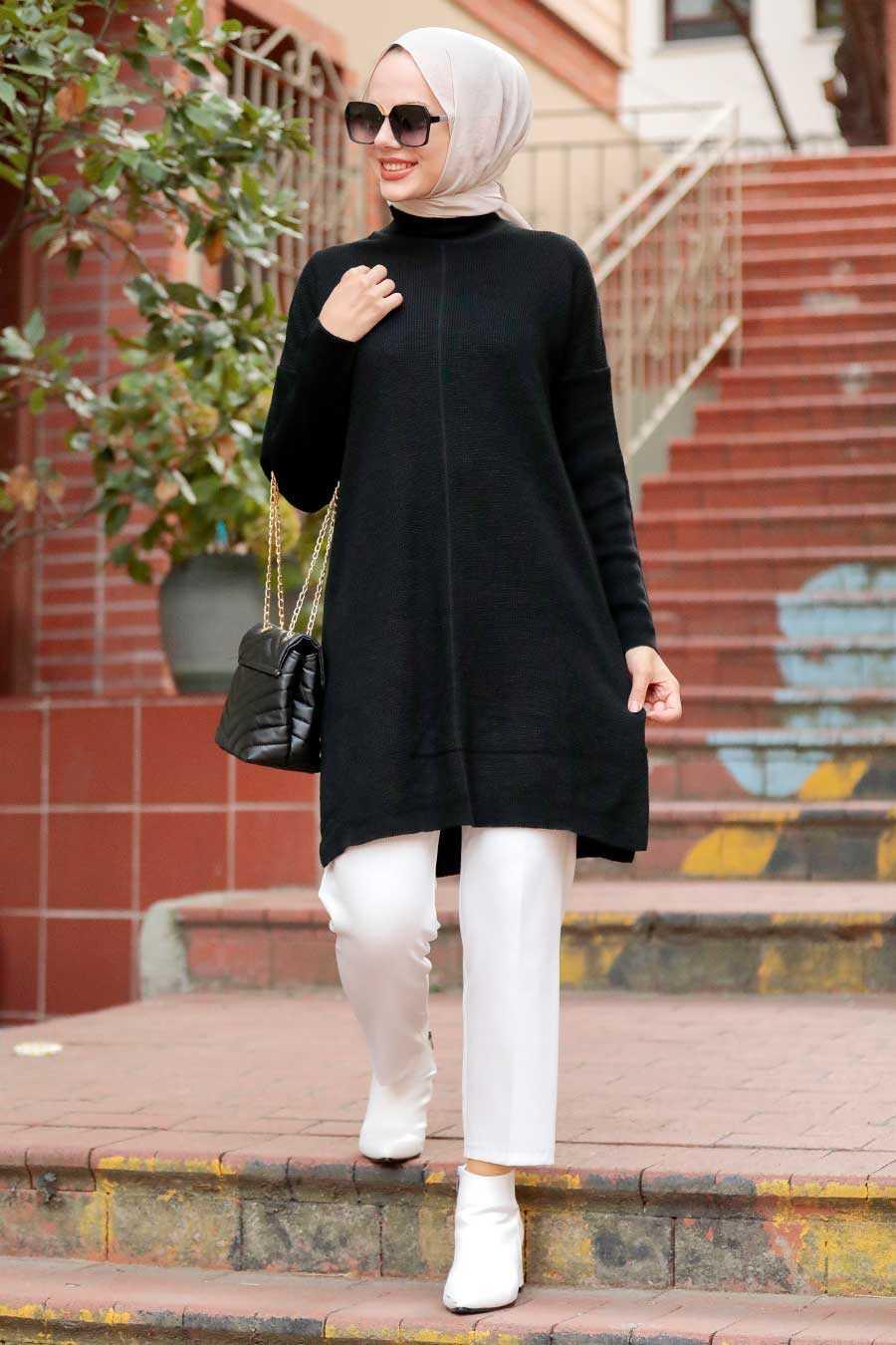 Black Hijab Knitwear Tunic 18441S
