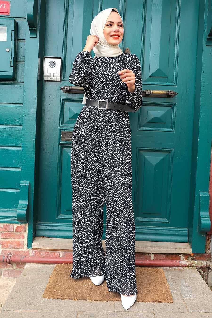 Black Hijab Overalls 2896S