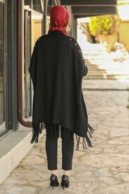 Black Hijab Poncho 2305S - Thumbnail