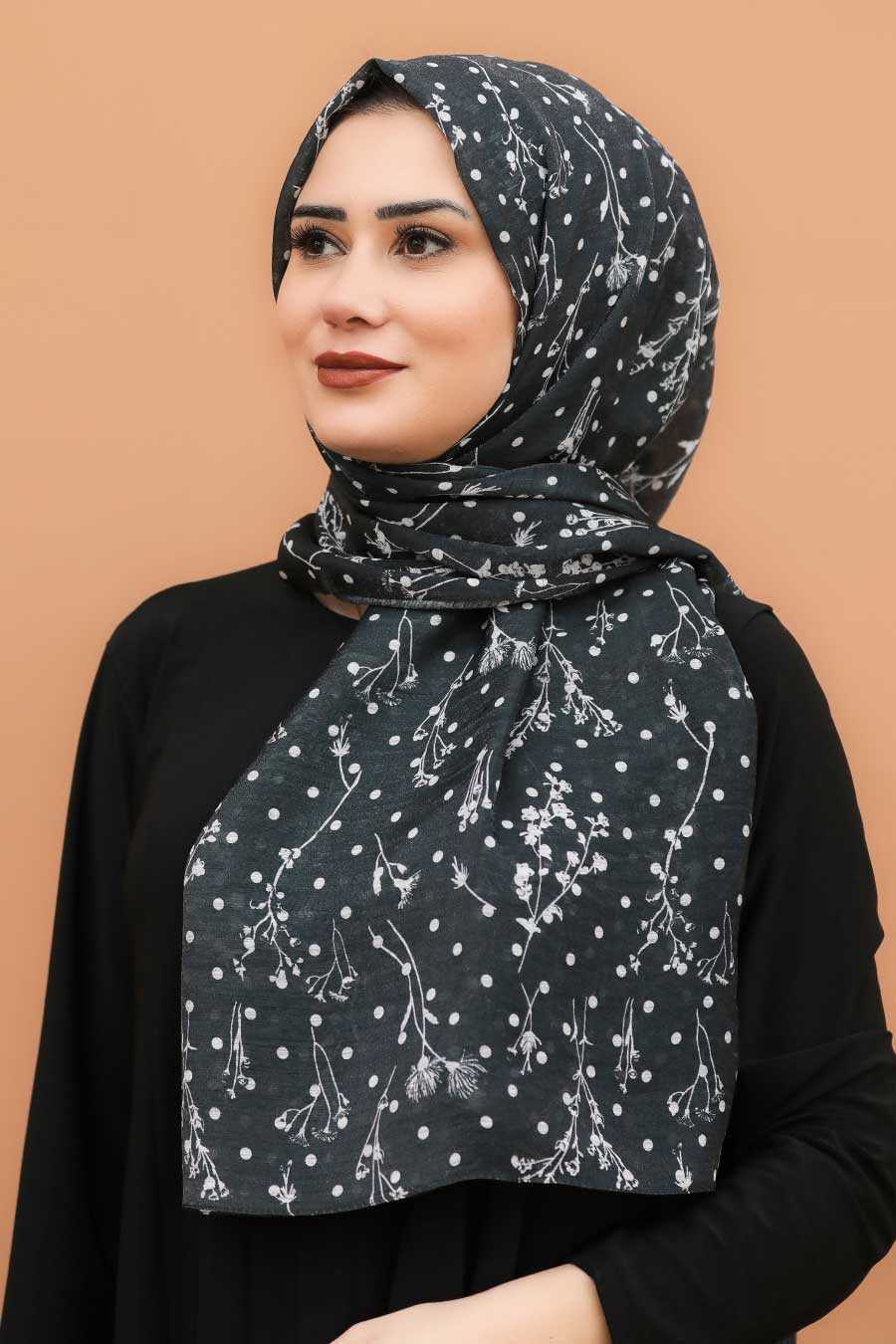 Black Hijab Shawl 7543S