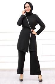 Black Hijab Suit Dress 3000S - Thumbnail