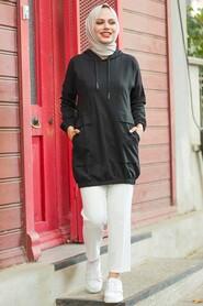Black Hijab Sweatshirt & Tunic 4135S - Thumbnail