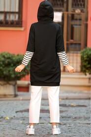 Black Hijab Sweatshirt & Tunic 4212S - Thumbnail