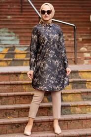 Black Hijab Tunic 11660S - Thumbnail