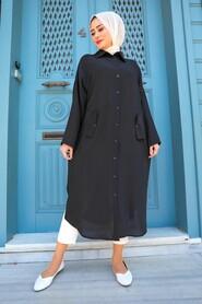 Black Hijab Tunic 2424S - Thumbnail