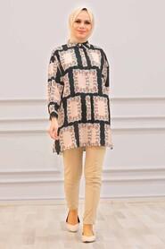 Black Hijab Tunic 27329S - Thumbnail