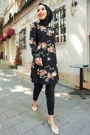 Black Hijab Tunic 35817S - Thumbnail