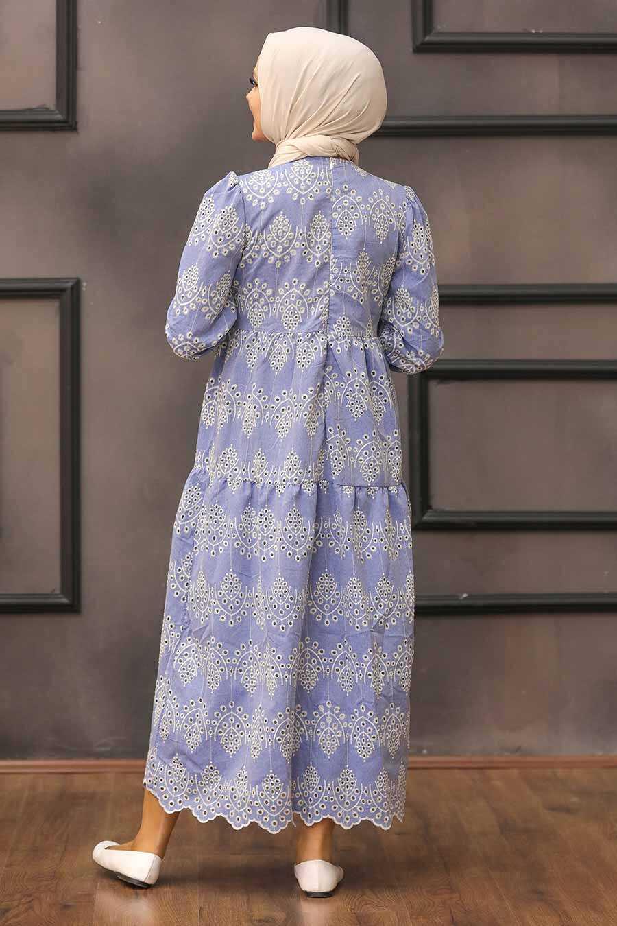 Blue Hijab Dress 10730M