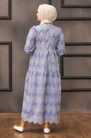 Blue Hijab Dress 10730M - Thumbnail
