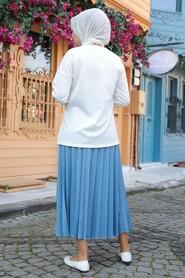 Blue Hijab Dual Suit Dress 1748M - Thumbnail