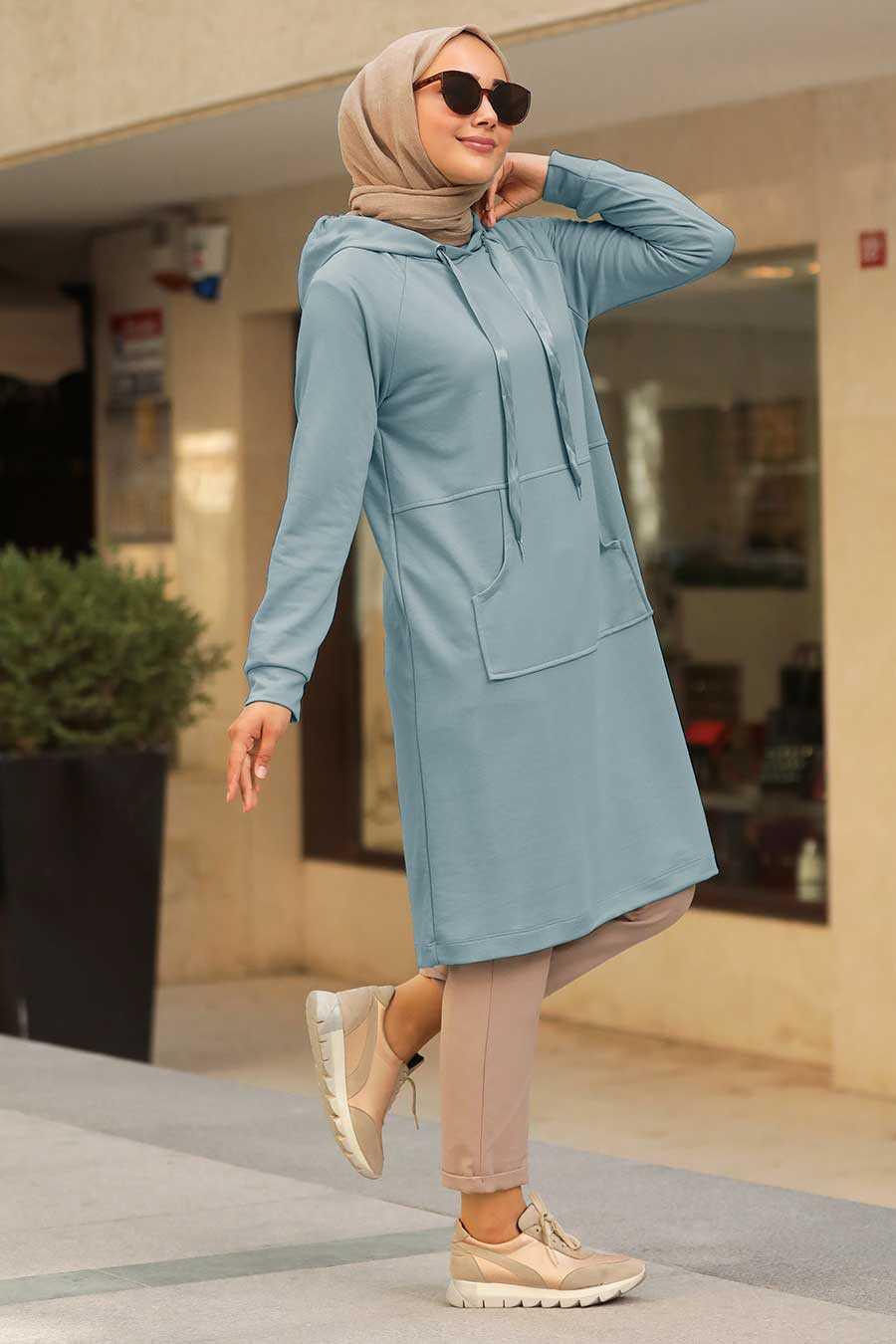 Blue Hijab Sweatshirt & Tunic 16030M