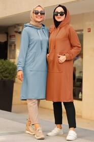 Blue Hijab Sweatshirt & Tunic 16030M - Thumbnail
