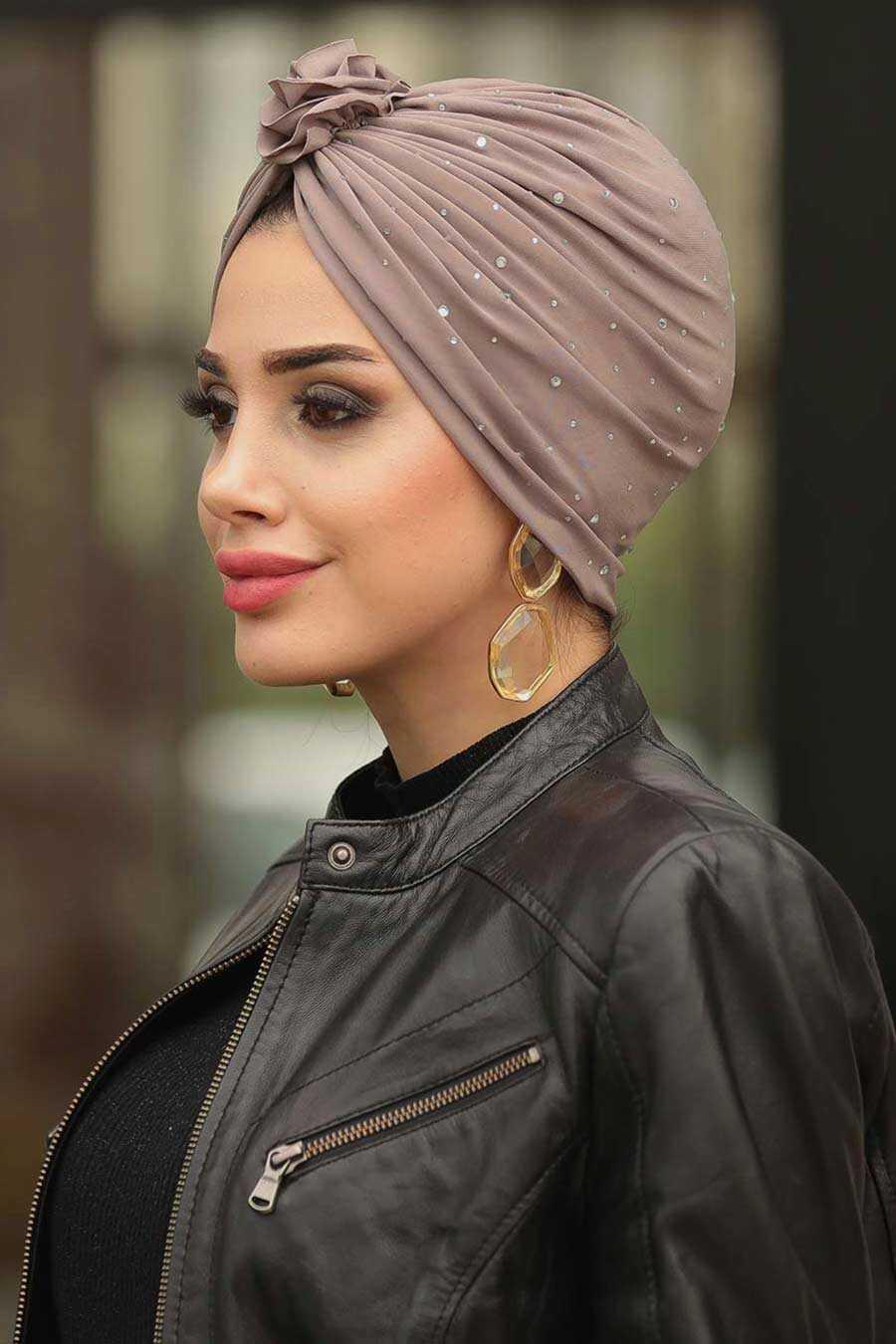 Brown Hijab Cap Shawl 7527KH