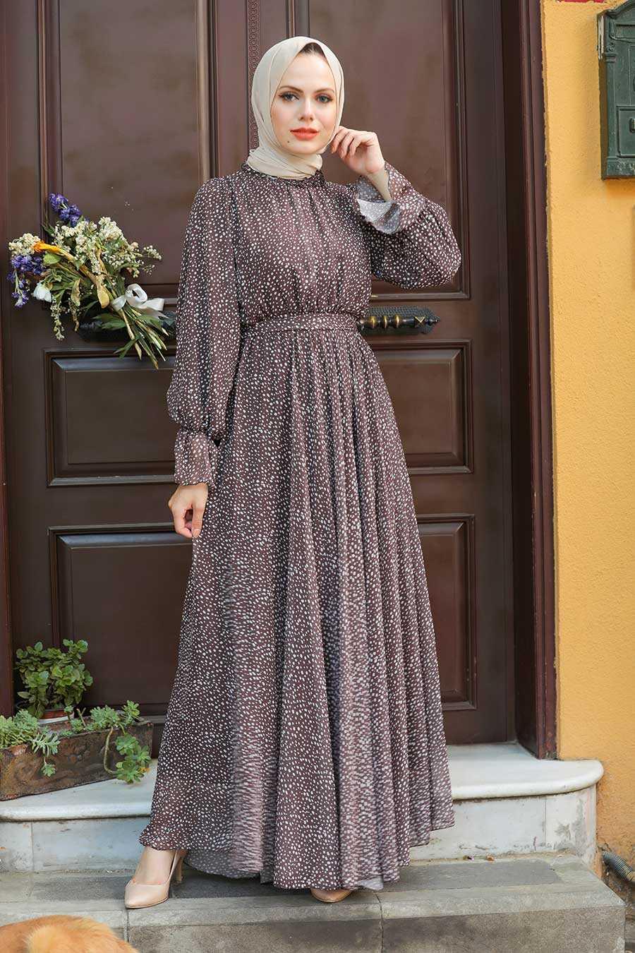 Brown Hijab Dress 1423KH