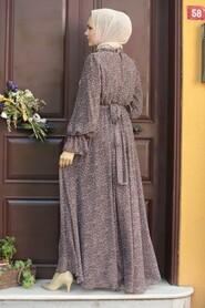 Brown Hijab Dress 1423KH - Thumbnail